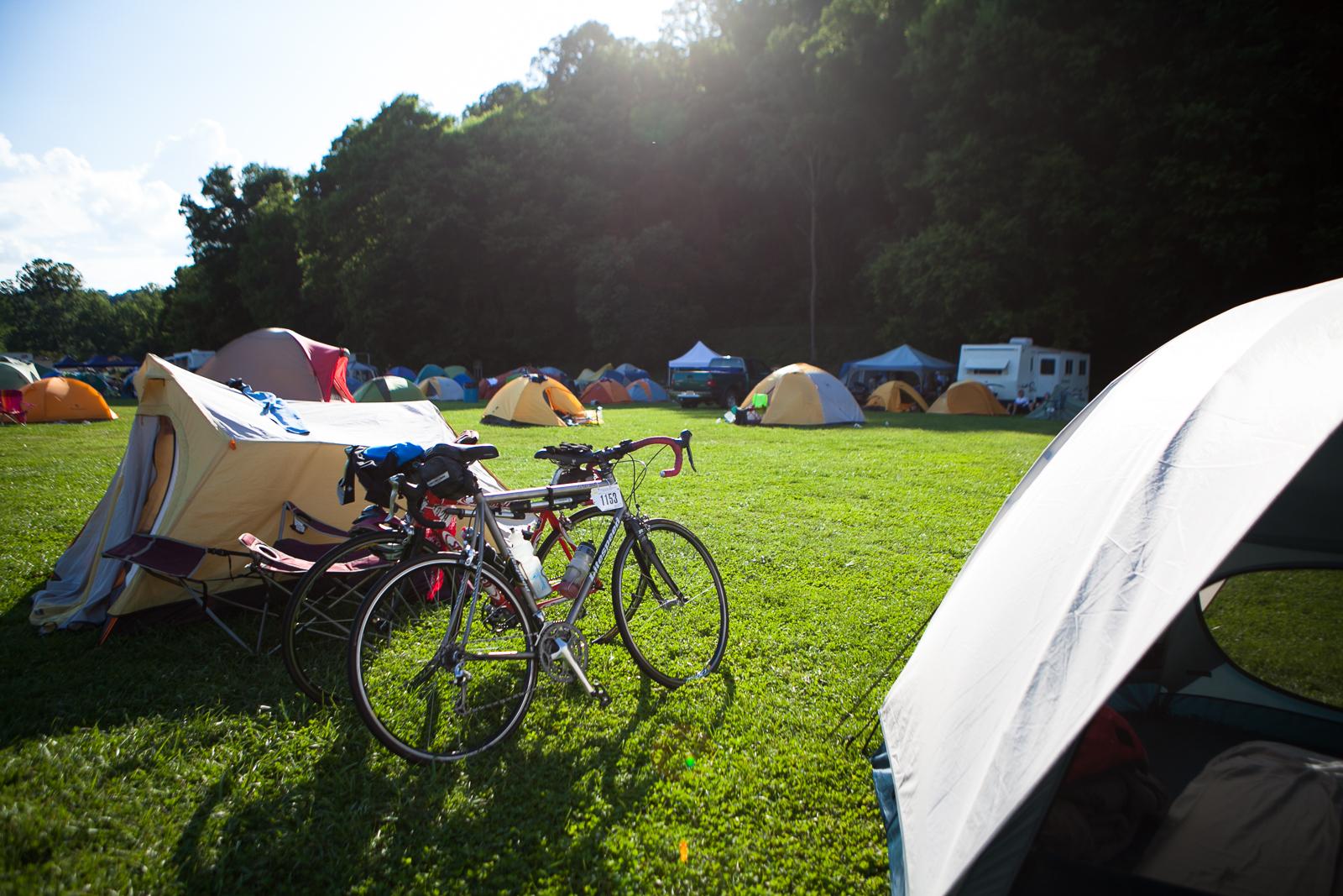 tent camping at bike virginia event