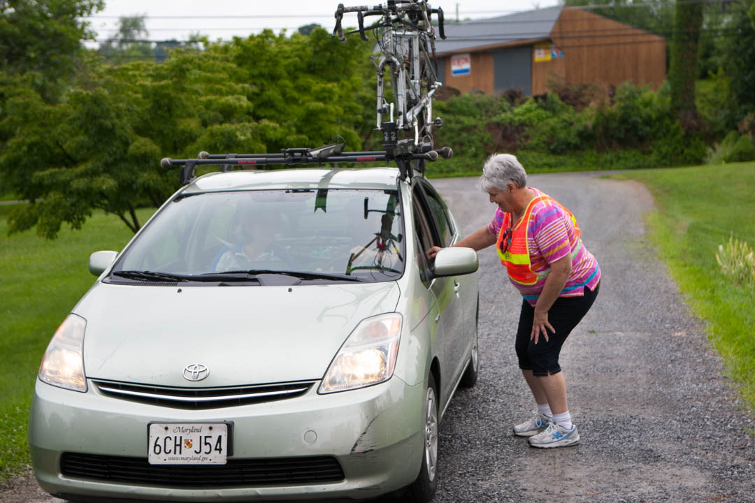 Car with bike arriving at Bike Virginia Tour 2015